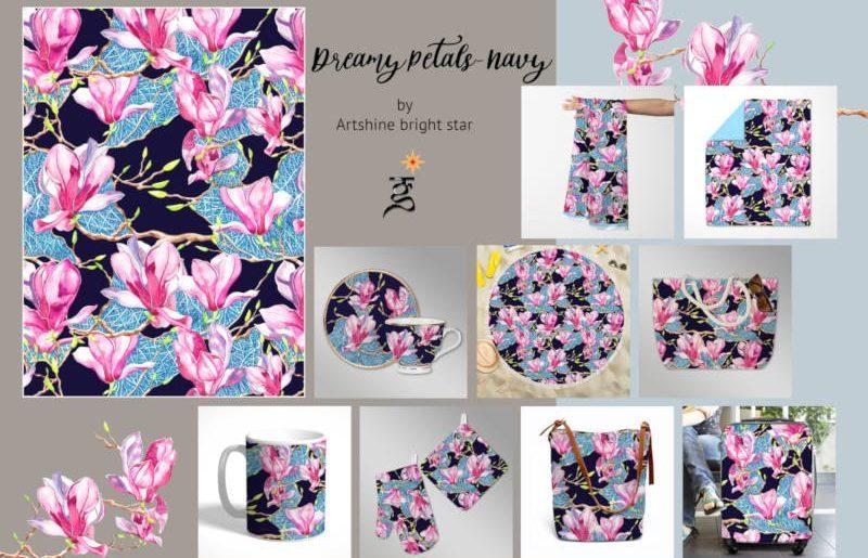Girija Kulkarni_Dreamy petals _ Navy blue_ catlouge _compressed-2